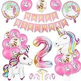 O-Kinee Einhorn 2 Geburtstag Deko, Luftballon 2. Geburtstag Rosa, 2 Ballon Einhorn Deko, Geburtstagsdeko Mädchen 2 Jahr, 2.Geburtstagsdeko Einhorn, 2.Geburtstagsdeko Mädchen, Ballon 2. Geburtstag