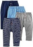 Simple Joys by Carter's Baby Jungen Hose, 4er-Pack ,Marineblau/Streifen/Grau ,Preemie