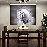 Mefooge DIY 5D Diamant-Malerei Diamond Painting Kits Weißes Pferd Malen nach Zahlen Voller Bohrer Strass Stickerei Kreuzstich Supply Handwerksbedarf für Heimwand Deko-Round Drill,40x60cm(15.7x23.6in)