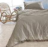 Leinen-Bettwäsche-Set Sintra 100% Leinen aus Portugal, Kissen 80x80cm und Bettbezug 135x200 oder 155x220cm (Taupe, 135x200cm + Kissen 80x80cm)