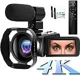 4K Videokamera WiFi Camcorder 48MP Vlogging Kamera 30FPS Digital Camcorder Infrarot Nachtsicht 3 Zoll Touchscreen Camcorder mit Mikrofon und Haub