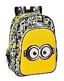 safta Jungen M185 Schulrucksack für Kinder mit Animation, Weiß/Schwarz/Gelb, 260x110x340 mm