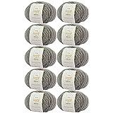 MyOma Alpakawolle zum Stricken -10x Happy Wool Alpaca Mix hellgrau (Fb 31)- 10 Knäuel Wolle grau + GRATIS Label – Wolle mit Alpaka – 50g/80m – Nadelstärke 7-8mm – graue Wolle zum Stricken und Häkeln