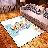AHCMYK Modern Home Teppiche für Wohnzimmer - Comic-Tiere, Grösse:120x170 cm,Kurzflor Teppich Anti Rutsch Unterlage Teppich Wohnzimmer Kurzflor Fußmatte Innenb