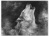 wandmotiv24 Leinwand-Bild Wölfe, Größe 60x45cm, Querformat, Heulender Wolf, Gemälde, Grunge Hintergrund, Bleistift Zeichnung, Tiere, Natur, Raub-Tier, Wand-Bilder, Dekoration Wohnung modern M0179