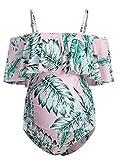 CORAFRITZ Damen-Badeanzug mit Volant, lässig, einfarbig, Push-Up-Strand-Badeanzug, Bauchkontrolle, Umstandsmode Gr. XL, rose