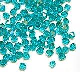 40stk Preciosa Böhmische Kristallperlen 4mm Doppelkegel Tschechische Perlen Glasschliffperlen Glasperlen, Bicone Beads, Farbauswahl (Blau Zirkon AB)