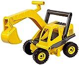 Lena 4211 EcoActives Bagger, Baustellenfahrzeug ca. 35 cm, robuster Schaufelbagger, natürlicher Holzgeruch durch ökologischen Holzanteil, Sandbagger für Kinder ab 2 Jahre, Spielfahrzeug in gelb