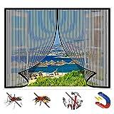 GUOGAI Magnetvorhang 115x120cm Insektenschutz Insektenschutz Tür Vorhang Vollrahmen Klettverschluss für Windows/Wohnzimmer, Schwarz A