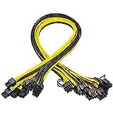 tellaLuna 10 StüCk 6 Pin PCI-E Bis 8 Pin (6 + 2) PCI-E (Stecker zu Stecker) GPU Strom Kabel 50 cm für Grafik Karten Mining Server Breakout Board