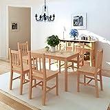 HUANGDANSP Siebenteiliges Esstisch-Set PinienholzMöbel Möbelgarnituren Essgruppen