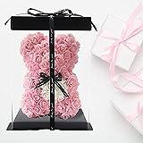 RoseBär Handgemachte Teddybär Blumenbär Rose Teddybär - Geschenk, Freund Geschenke, Geschenke für Frauen, Clear Geschenkbox 10 Zoll (Light pink)