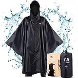 onemate ® Regenponcho Herren & Damen - Durchgezogener Reissverschluss für Trockenes An- und Ausziehen - Mit Zwei Wasserdichten Taschen - Fahrrad Regencape 100% wasserdicht (Schwarz, L/XL)