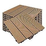 PPLAS 11pcs / Set. WPC. Composite Board Garten Bodenplatten Verriegelung Holz Effekt Terrasse Fliesen Bodenbelag DIY. Balkonbalkon flexibel (Color : 01)