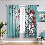 JNWVU Blickdicht Vorhang für Schlafzimmer - Cartoon Mädchen Fahrrad grün - 3D Druckmuster Öse Thermisch isoliert - 200 x 160 cm - 90% Blickdicht Vorhang für Kinder Jungen Mädchen Sp