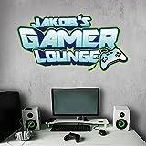 tjapalo® vr40 Cooles gamer Wandtattoo Junge Name wandtattoo junge kinderzimmer name Gamer Lounge, Größe: B58xH30cm