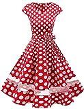 Gardenwed 1950er Vintage Retro Rockabilly Kleider Petticoat Faltenrock Cocktail Festliche Kleider Cap Sleeves Abendkleid Hochzeitkleid Red White Dot XL