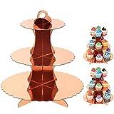 UltraOutlet Set mit 3 Etagen, rotgoldener Pappe, Cupcake-Ständer, Einweg-Papier-Cupcake-Halter für Hochzeiten, Geburtstagsfeiern, Babypartys und Abschlussfeiern