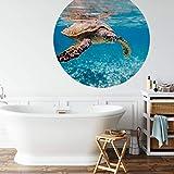 Badezimmer Tapete Schildkröte Vliestapete entfernbar Meer Ozean Unterwasserwelt Wall-Art (Ø 188cm)