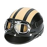 KKmoon Motorrad Roller Open Face halbes Leder-Helm Winter Winddichter Helm mit Visier UVschutzbrille Retro Vintage Style 54-60cm (Gelb1)