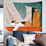 KHKJ Nordic Tropical Leaf Fruit Tapisserie Kopfteil Wandkunst Tagesdecke Wohnheim Tapisserie für Wohnzimmer Schlafzimmer Wohnkultur A7 150x130cm