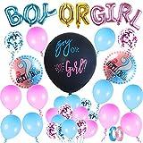 FORMIZON Gender Reveal Party Deko Luftballon, 30 Stück Babyparty Luftballons, Konfetti Rosa Blau Ballons, Geburtstagsdeko, Luftballon Set, Jungen oder Mädchen Banner für geburtstag Partydekoration
