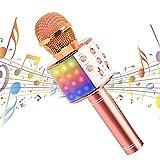 Karaoke Mikrofon Drahtloses Bluetooth mit LED Leuchten für Kinder Tragbares Lautsprecher 4-in-1 Multifunktional Mikrofon für Musik spielen KTV,Party, Lautsprecher Kompatibel mit Android IOS