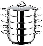 5 Etagen Dampfgarer Manti-Topf 26cm Mantowarka Edelstahl 18/10 Dampfgar-Kochtopf auch für Induktion