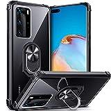 DOSNTO für Huawei P40 Pro Hülle Handyhülle Schutzhülle Stoßfest Ständer Fallschutz Transparent Silikon mit Ring, Schwarz