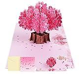Adorfine Pop-Up 3D Karte Rosa Kirschblüte Geburtstagskarte mit Umschlag Valentinstag Karte für die Hochzeit Glückwünsche Einladung, Hochzeitsgeschenk, Geburtstag, Graduierung Karte