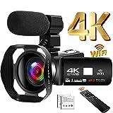 Camcorder 4K 48MP Videokamera 18X WiFi YouTube Kamera IR Nachtsicht Camcorder mit verbesserter Fernbedienung, externem Mikrofon und Gegenlichtb