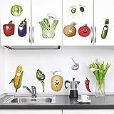 decalmile Komisch Mais Chili Gemüse Elfen Wandsticker Herausnehmbar DIY wandtattoo Wandaufkleber Für Küche E