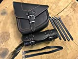 ORLETANOS ODIN BLACK ORANGE + Rolle Schwingentasche kompatibel mit Werkzeugrolle Lenkerrolle Seitentasche Leder Tasche Schwinge Satteltasche kompatibel mit Harley Davidson Leder schwarz Orange Chopper