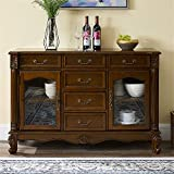 LIUXING-Home Multifunktionsschränke Massivholz Accent Kabinett Eingang Bar Raum Tisch Wohnzimmer Bar Lagerschrank für küche (Color : Coffee, Size : 110x39x86cm)