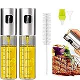 Eletorot Ölsprüher Flasche 100ML,Öl Sprühflasche, Essig Spritzer Ölspender, Transparent Öl Sprayer, Öl Auslöser Glasflasche mit Bürstefür Kochen, Salat, BBQ, Pasta(2 Pack)