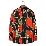 Herrenhemd, Trendy Ethnic Style Personalisierter Druck Langarmhemd Europäische und amerikanische Lässige lose Hemdjacke XXL