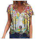 Betory Damen T-Shirt mit Blumenmuster, V-Ausschnitt, lockere, kurze Ärmel, Sommer-T-Shirt, bedruckt, Tunika. Gr. M, 2 GRÜN