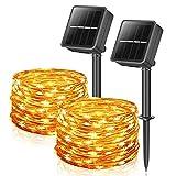Solar Lichterkette Außen, 12M 100 LEDs Lichterketten Aussen, Wasserdicht mit 8 Leuchtmodis Lichterkette für Balkon, Gartendeko, Bäume, Terrasse, Hochzeiten, Weihnachtsbeleuchtung (2 Stück Warmweiß)