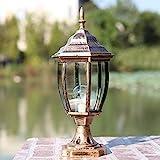 GAXQFEI E27 Outdoor Wasserdichte Säulenleuchte Europäische Retro Landschaft Straßenlaterne Rostschutz Aluminiumlegierung Glaspfosten Laterne Garten Villa Zaunpfahl Lampe,Messing