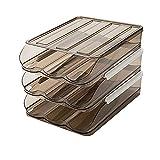LOKOER Eieraufbewahrungsbox mit Deckel Kühlschrank 1/2/3 Schicht stapelbares Auto Scrolling Eierablage für Kühlschrank Küchenarbeitsplatte