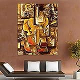 AGlitw Digitale Färbung Picasso Violine Digitale Malerei Digitale Abstrakte Ölgemälde Modulare Malerei Moderne Wohnkultur Leinwand Kunst-Gerahmt