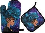 MODORSAN Afro American Purple Hair Girl Ofenhandschuhe Space Galaxy Topflappen Set beständige heiße Pads mit rutschfesten Polyester-Grillhandschuhen für Küche, Kochen, Backen, Grillen