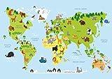wandmotiv24 Fototapete Tiere Weltkarte , XL 350 x 245 cm - 7 Teile, Fototapeten, Wandbild, Motivtapeten, Vlies-Tapeten, Ozean, Kinder M1426