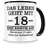 Samunshi® Tasse mit Spruch witzige Geschenke zum 18 Geburtstag Mann Frau Oma Opa Geburtstag Geschenkideen zum 18 Geburtstag (18 Jahre 300ml schwarz/schwarz)