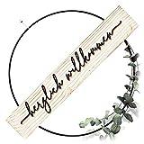 SKONIDA Willkommen Türkranz modern - Tür-Schild aus Naturmaterial Holz und Metall-Ring schwarz 30 cm - innen DIY Türdeko mit 3D Schrift ganzjährig