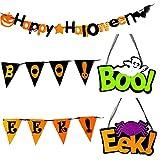 CUCUFA Happy Halloween Dekoration Banner Packung Hängende Girlande Mit Kürbis Bat Spider Ghost Skeleton Muster Für Halloween Party Supplies 5 Stücke