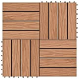 LONGMHKO Fußböden Teppichböden 11 STK. Terrassenfliesen geprägtes WPC 30x30cm 1qm Teak Farbe Individuelle Fliesengröße: 30 x 30 cm (L x B)