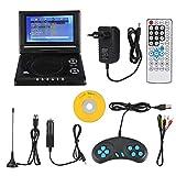 Plyisty Tragbarer DVD-Player mit 7,8-Zoll-Drehbildschirm, Schwenkbarem 270-Grad-Bildschirm, Integriertem Akku, USB/CD/AV-EIN- / Ausgang für Fernreisen (schwarz)(EU)