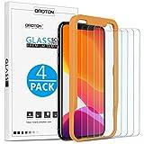OMOTON [4 Stück Schutzfolie kompatible mit iPhone 11 Pro/iPhone XS/iPhone X. Mit Positionierhilfe [9H Härte], [Anti-Kratzen], [Anti-Öl], [Anti-Bläschen]