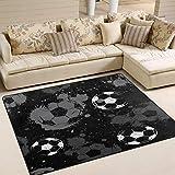 Use7 Teppich, abstrakter Fußball, Aquarell, für Wohnzimmer, Schlafzimmer, 203 cm x 147,3 cm